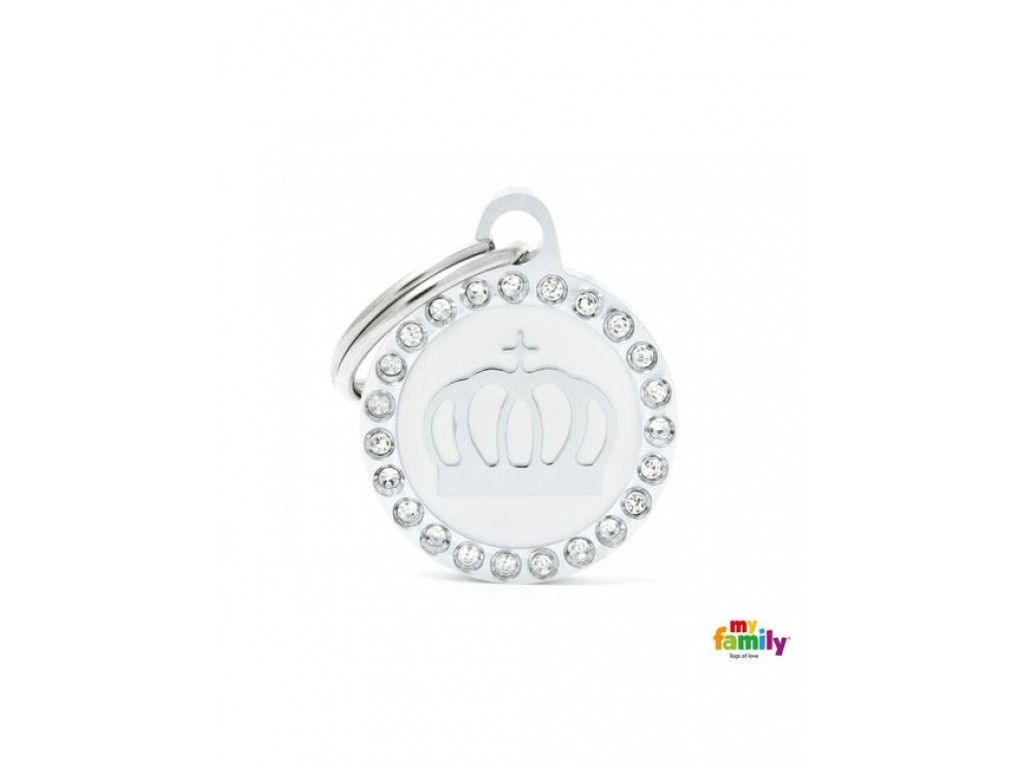 My family SMALL CIRCLE CROWN GLAM white
