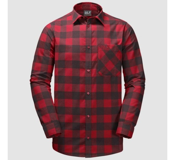 Jack Wolfskin Red River Shirt, M, red lacquer checks