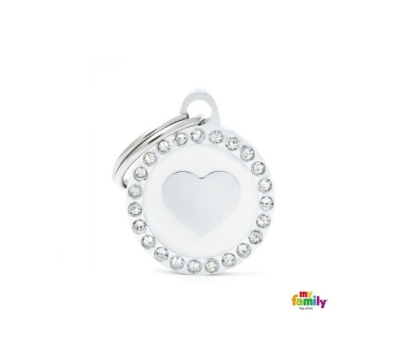 My family SMALL WHITE CIRCLE HEART GLAM
