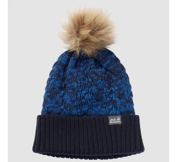 JACK WOLFSKIN KNIT POMPOM CAP KIDS NIGHT BLUE