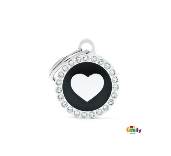 My family SMALL BLACK CIRCLE HEART GLAM